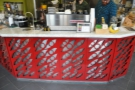 ... while the counter below is in red, the design here repreresenting the roaster's flames.
