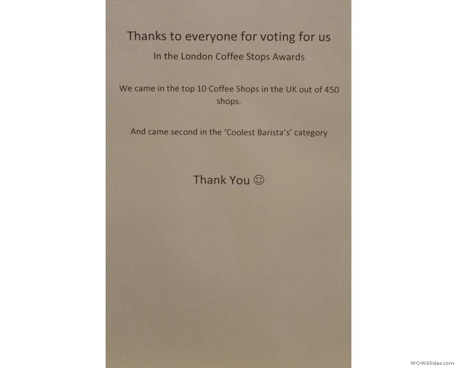 It forgets to mention that the Electric Coffee Company was also 3rd in the voting for Best Coffee Shop on Social Media. A good showing against stiff competition from the whole UK.