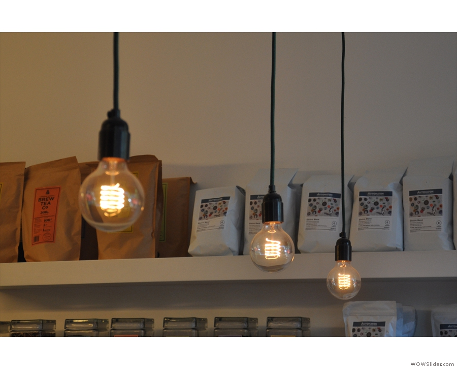 More light bulbs. These hang above the brew bar at the front...