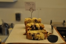Most of the cakes are baked on site. Here, from January, a blueberry crumble cake...