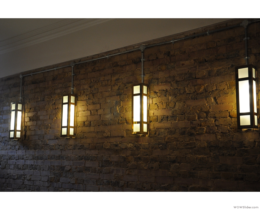 However, the lights are everywhere, including on this lovely bare-brick wall.