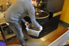 Sebastian then pours the beans out into a storage box, ready for blending.