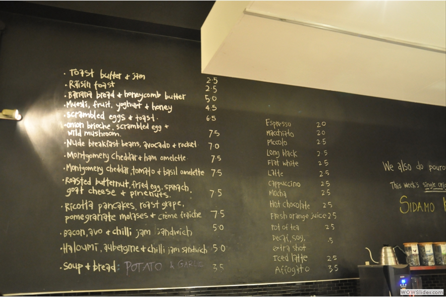 The food (and coffee) menu