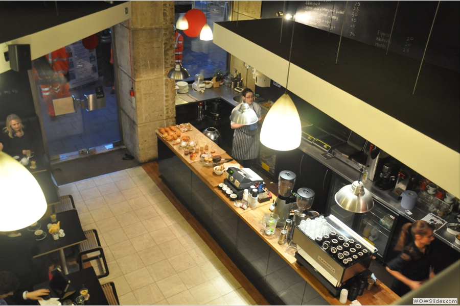 The view from the mezzanine level. The chef bakes everything on the premises.