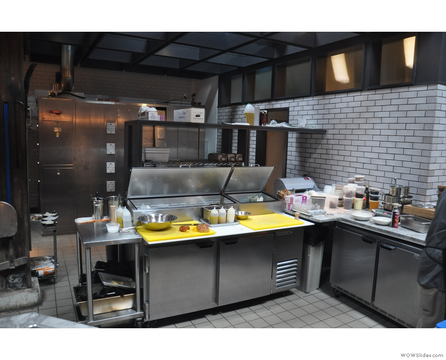 ... wihich separates the coffee shop part from the kitchen where all the food's prepared.