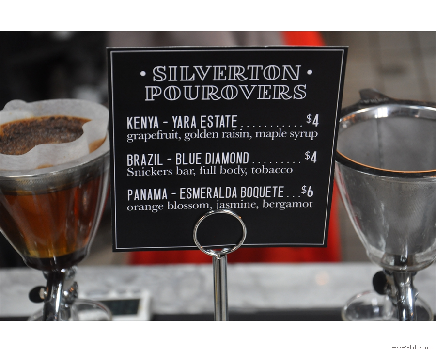There's also a choice of three single-origins via a new method to me, the Silverton.