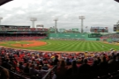 To the ball game: the view of Fenway Park from my seat in the grandstand.