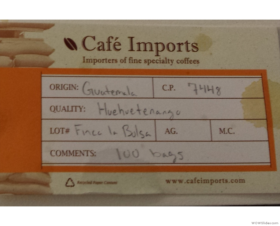 For me, there were two stand-out coffees, this one from Guatamala...