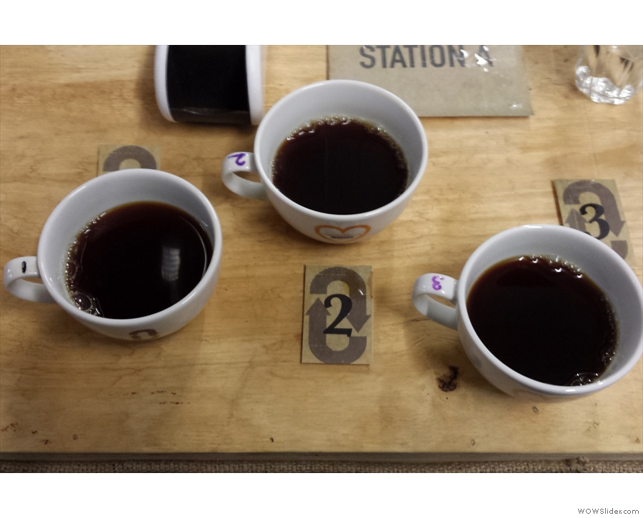 ... & at each station, three cups, one of which is the odd one out. Just identify which one.
