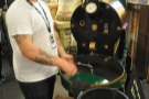 This is James, of Union hand-roasted, with his 3kg San Francisco roaster.