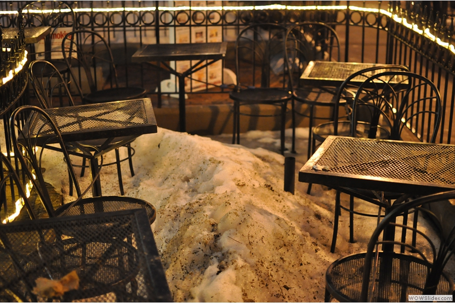And finally, there is some outside seating on Newbury Street, although it wasn't really the weather for it while I was there...