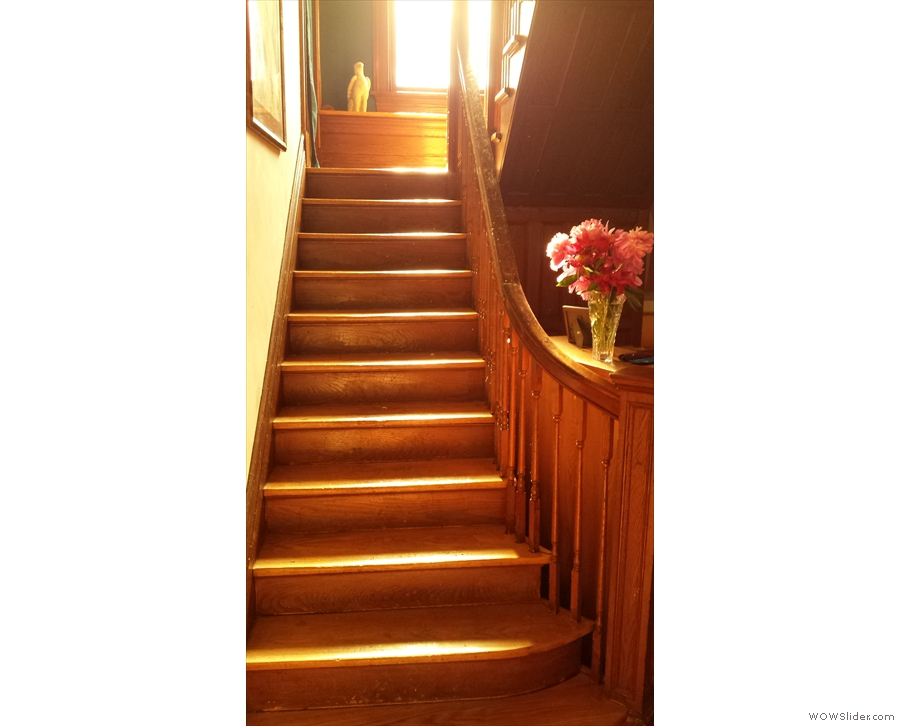 These two photos are of the evening sun streaming down the stairs.