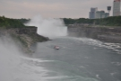 The Canadian falls are further back (the border runs down the centre of the river).