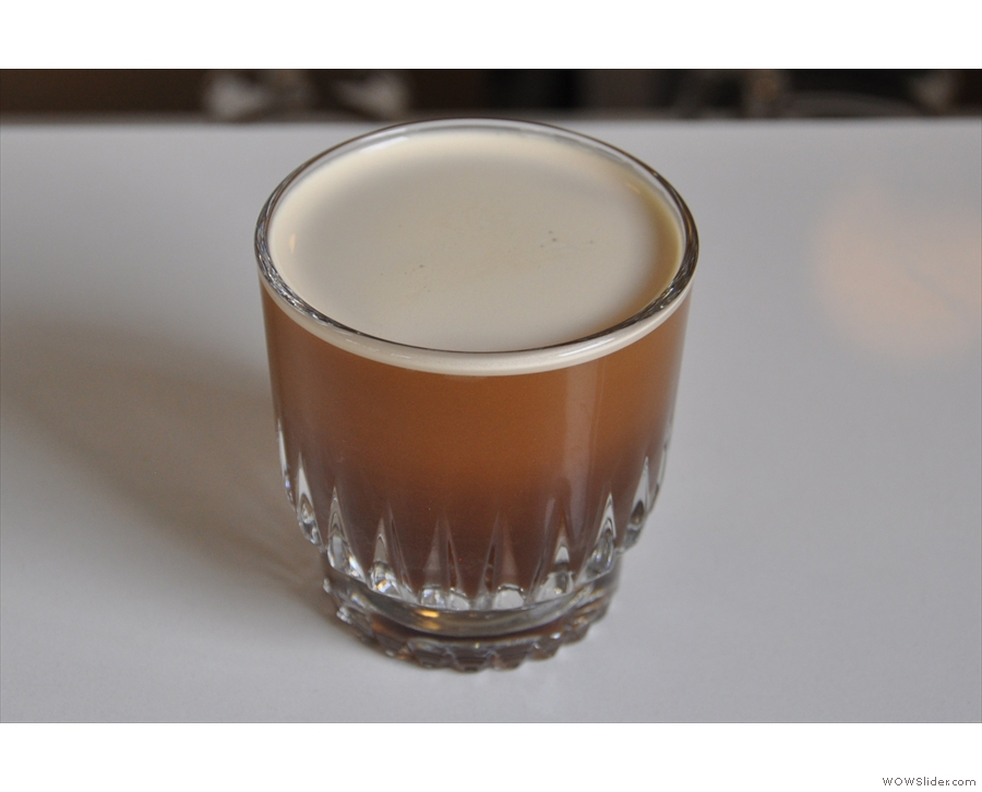 Round three, nitro-iced coffee, the Slate way. Looks like beer. Tastes a bit like beer too.