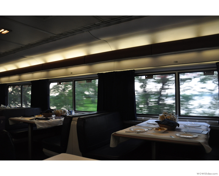 The dining car, set for dinner on the first evening.