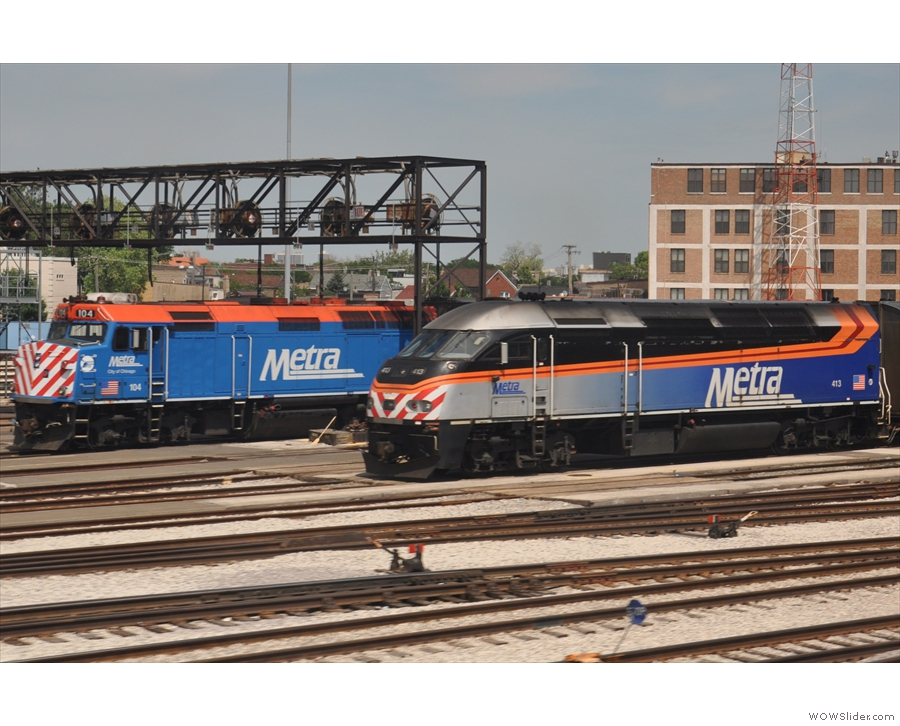Old and new. Metra has some very sleek, modern-looking locomotives...