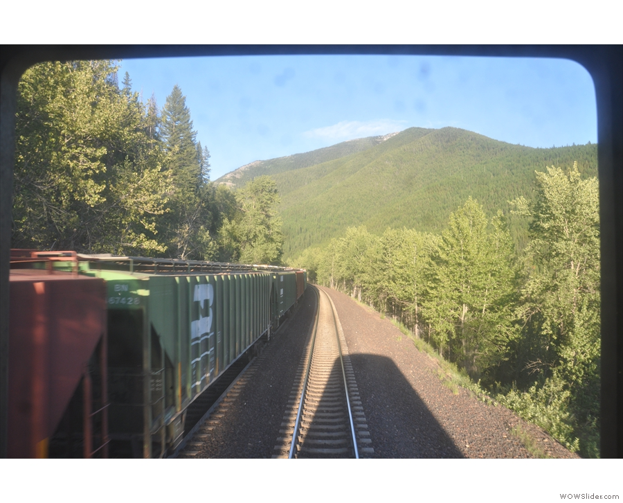 ... long, long freight trains going up the pass. Often they were pulled by two locoomotives...