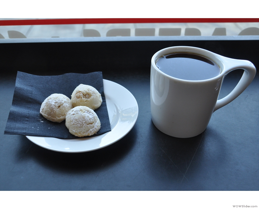 I paired my coffee with three of the tea cookies I'd been admiring earlier.
