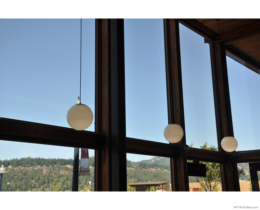 Despite being bright and airy, Stoked has lots of lights, such as these by the window...