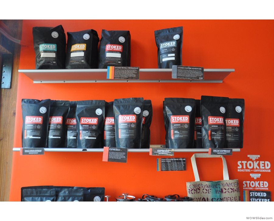 There are bags of coffee for sale: espresso, filter and single-oriign.
