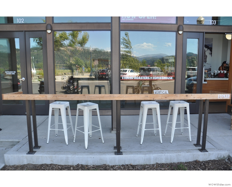 If you want to sit outside, there's this four-person bar directly in front of the door.