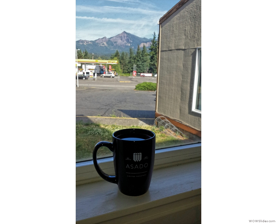 Coffee with a view. Trying out my new Asado Coffee Mug which I picked up in Chicago.