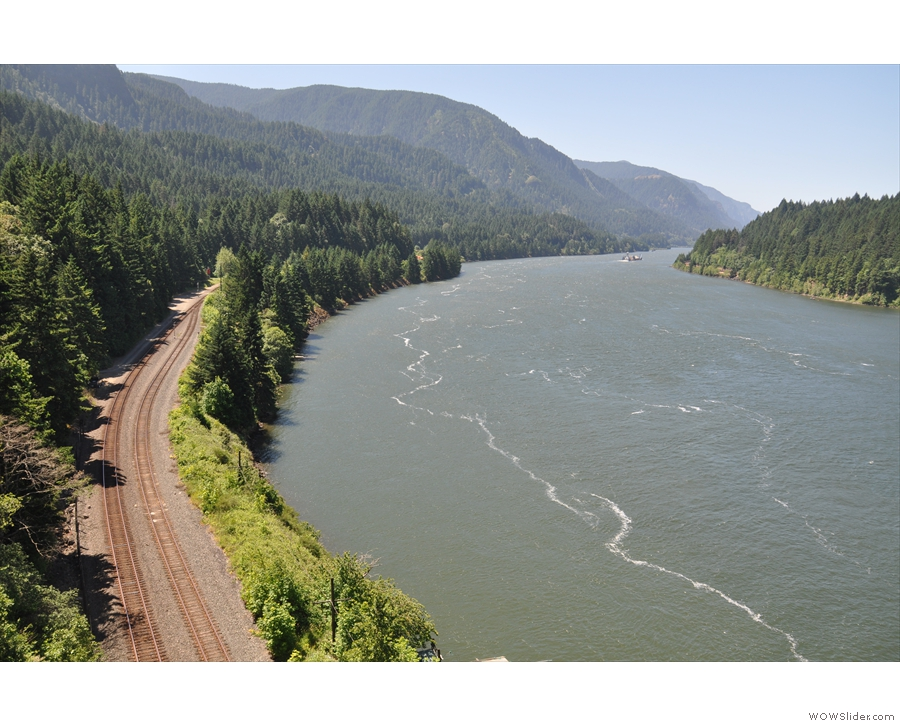 The view from the Oregon side, looking downstream. What's that in the distance?