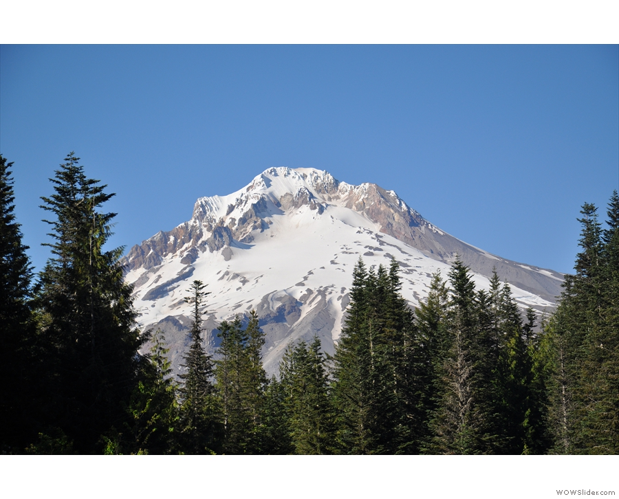 The snow-capped peak of Mount Hood.