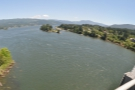 The view upstream from the Washington side. Before the Bonneville Dam, this was all rapids.