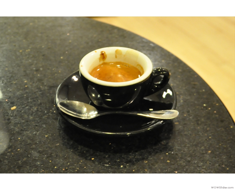 The Gracenote as an espresso in a classic black cup.