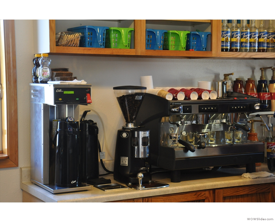 The all-important espresso machine and bulk-brew filter.