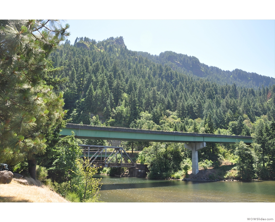 I followed the creek down to the Columbia River. That's I-84 with the railway behind it.