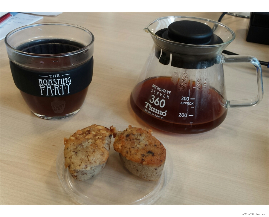 Just to show it's not all flat whites: KeepCup at work with filter coffee & (B-Tempted) cake.