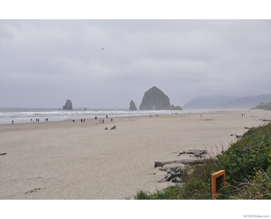 ... and to the north, where Haystack Rock separates the beach from Cannon Beach itself.