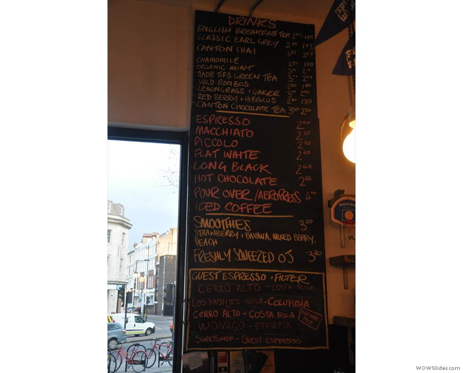 The coffee (and tea) menu... No cappucinos or lattes I see. That's okay: I wanted a piccolo!