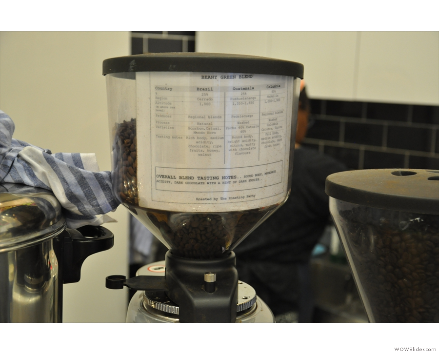 Details of Beany's bespoke seasonal blend are displayed in the hopper. There's decaf too.