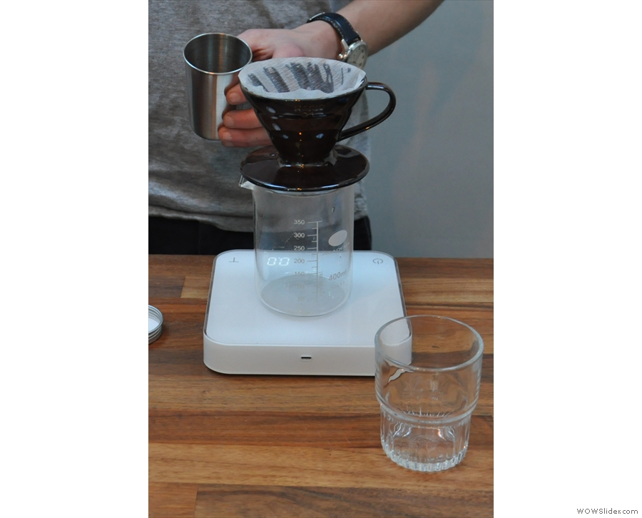 However, before we go any further, how about a pour-over? First, rinse your filter paper.