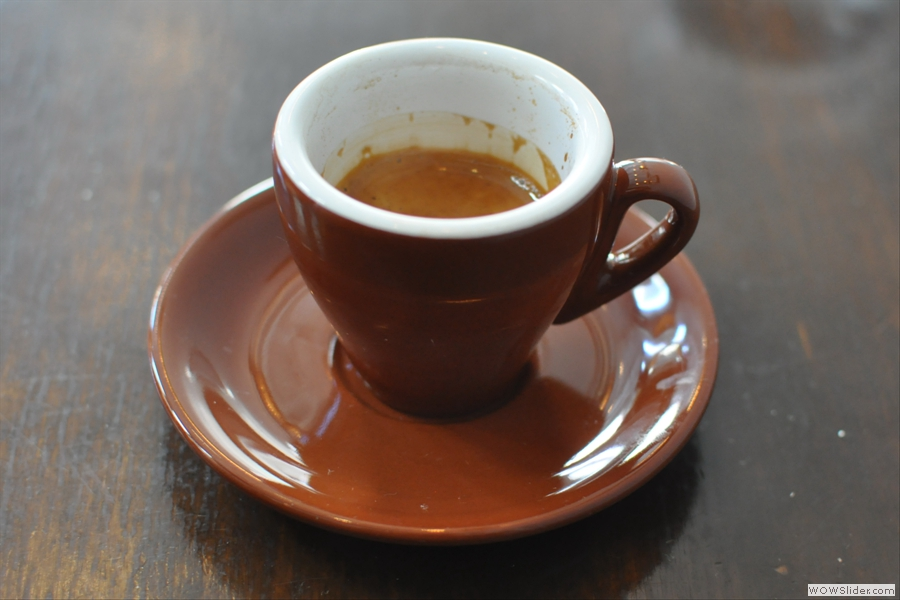 The finished result: a lovely espresso in a lovely cup.