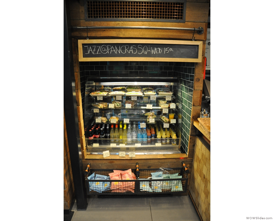 There are also soft drinks, sandwiches and salads in the chiller cabinet...