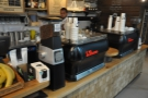 Coffee is from the twin espresso machines, each with its own grinder.