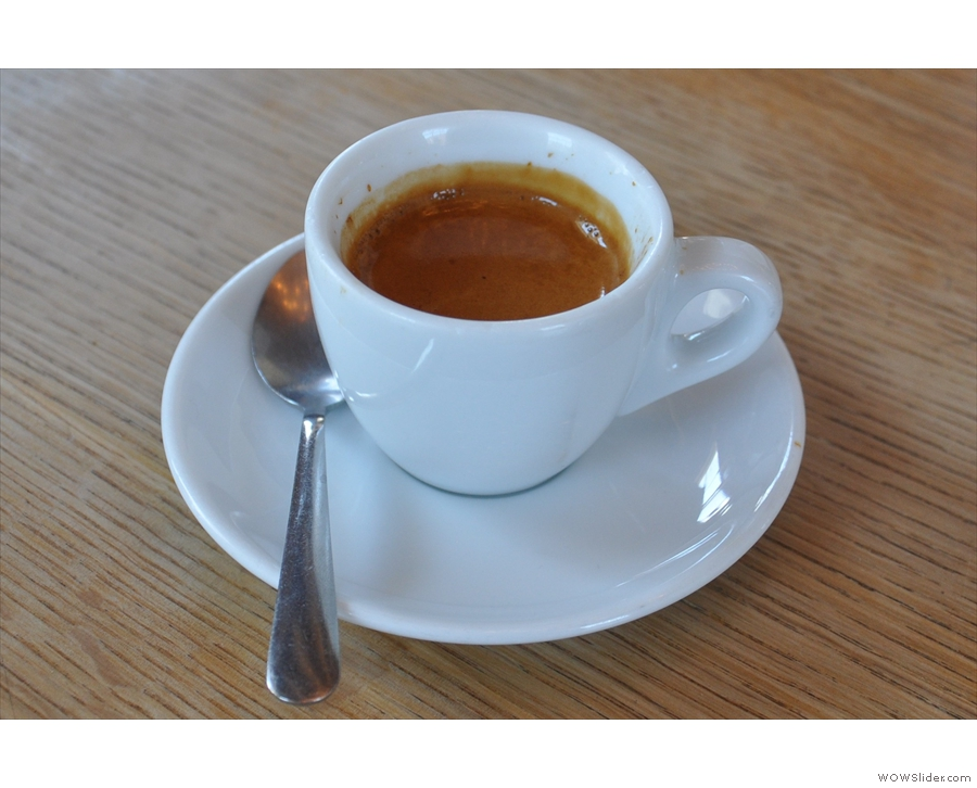 My espresso on its own. Loving the classic, white cup.