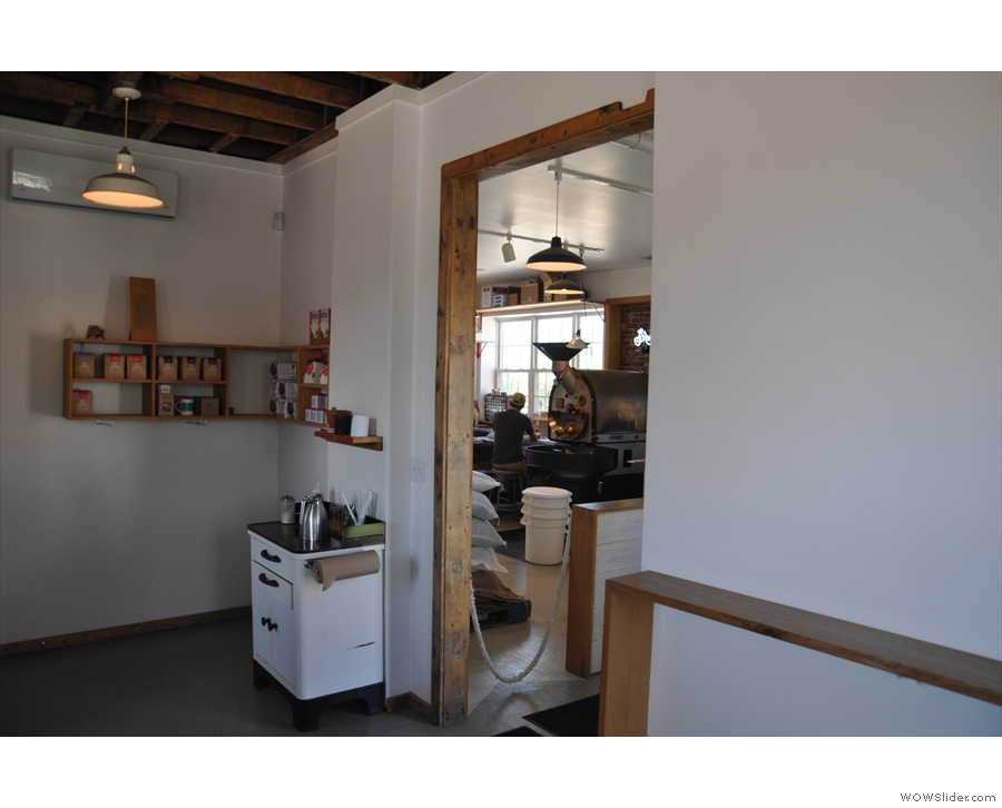 If you sit at the end of the counter, you can see the roastery through the doorway.