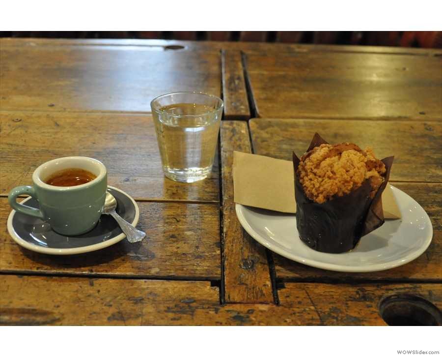 I went for the Rwandan single-origin espresso and one of those lovely-looking muffins.