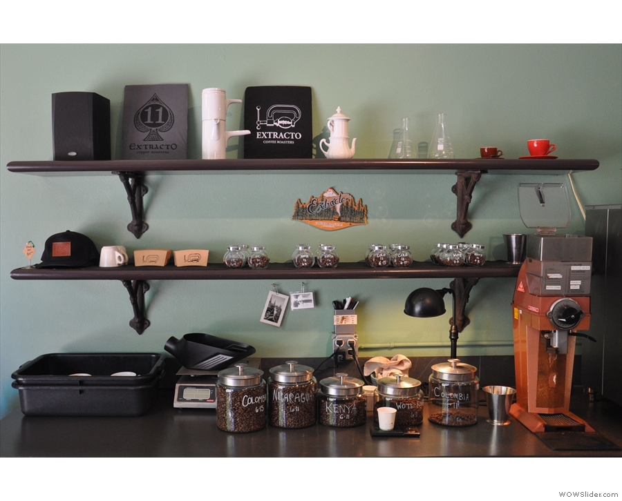 ... with the beans in jars behind it, next to the grinder, & little jars with pre-weighed shots.