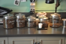 Today's beans, with the roast dates (month first) on the jars.