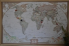 ... with a map above it showing you where all the coffee is from. Neat.