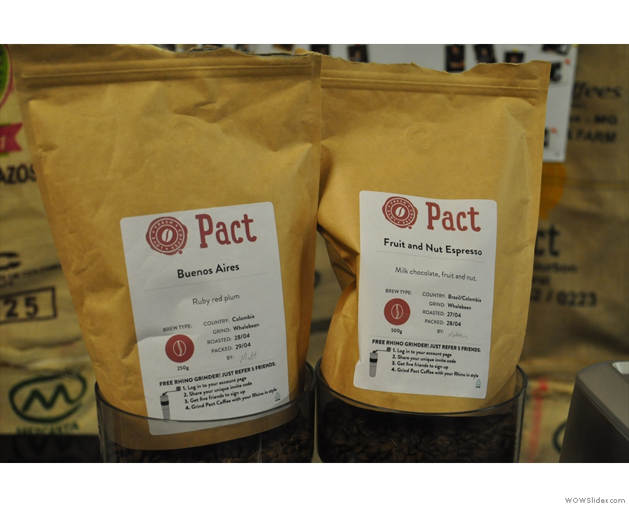 Pact was showcasing two coffees in conjunction with Sage: the Fruit and Nut blend...