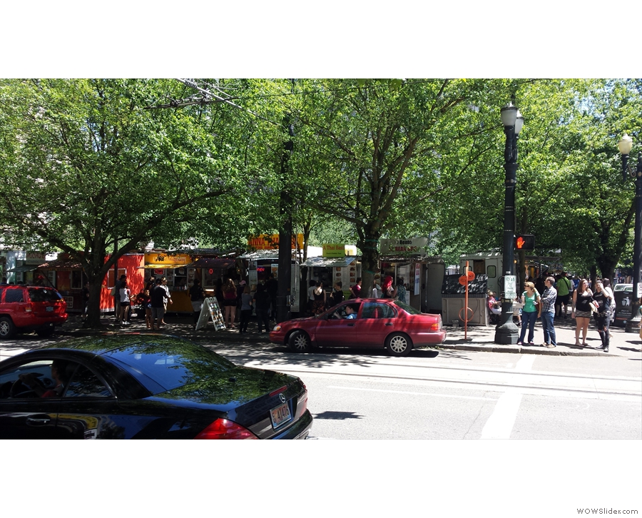 Oh, wait, what's that over there? It's a whole block of food trucks!
