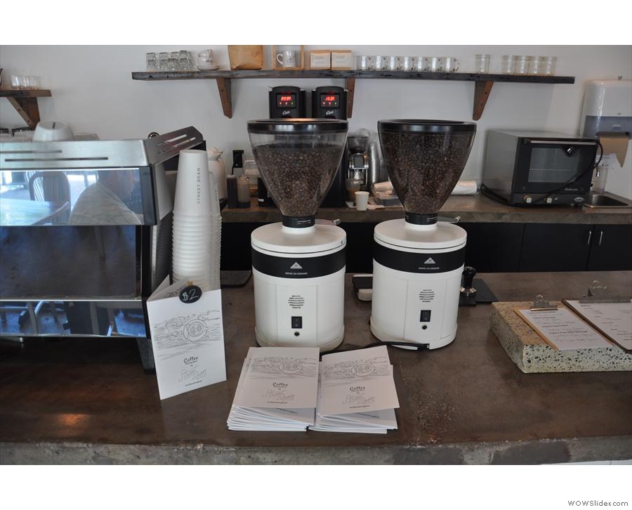 Next comes the espresso grinders and espresso machine...