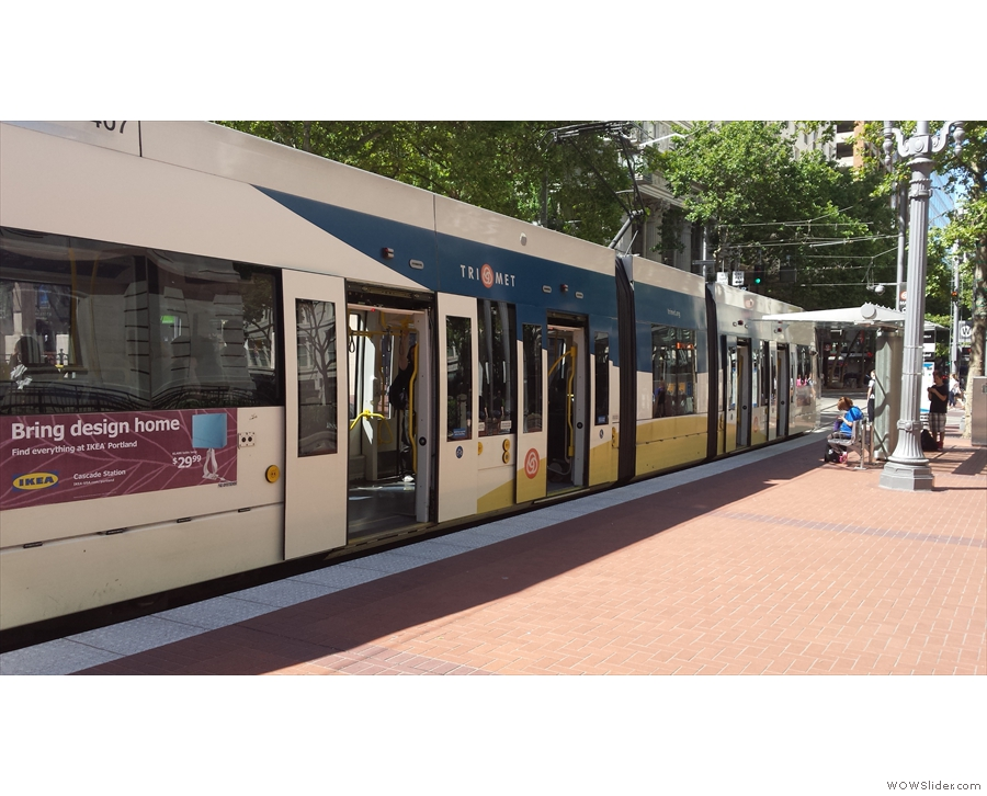 Portland has got several light rail and street car routes, with lots of different rolling stock...